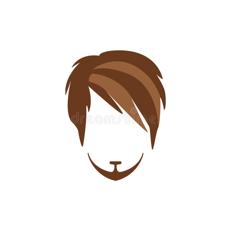 Hipster Male Hair and Facial Style With Side Fringe Goatee. Hipster Male Hair and Facial Hair Style With Side Fringe And Goatee.Hair, Beard And Moustache Style royalty free illustration