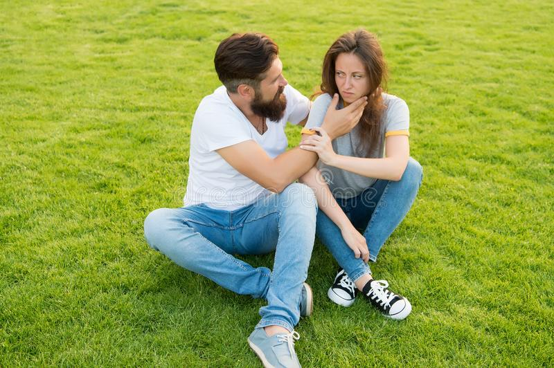 Hipster man with beard try to console girl. misunderstanding in relationship. relations problem. family couple royalty free stock images