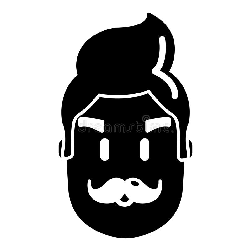 Hipster man face icon , simple style vector illustration