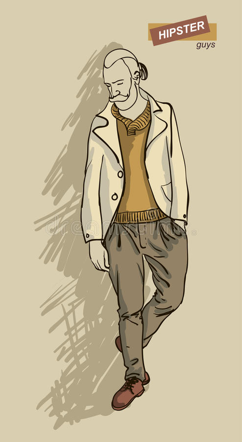 Hipster man in fashion. Man in fashion clothes isolated on light background illustration eps 10 stock illustration