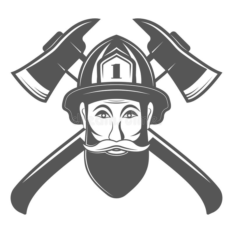 Hipster man in fireman hat with two axe vector illustration in monocrome vintage style. vector illustration