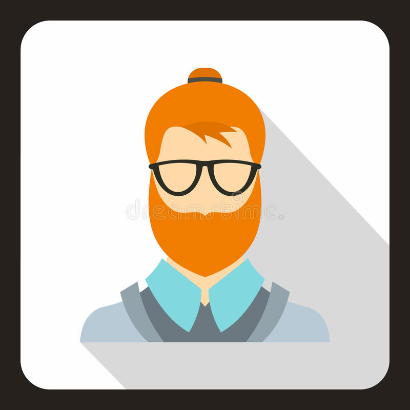 Hipster man icon, flat style vector illustration