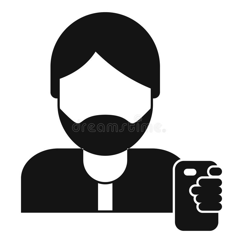 Hipster man take selfie icon, simple style vector illustration
