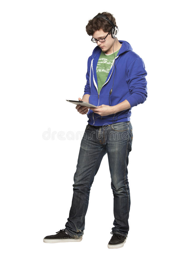 Free Hipster Man Watching Video On Ipad Royalty Free Stock Images - 31717839