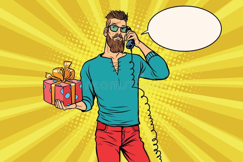 Hipster met een gift van het spreken op de telefoon royalty-vrije illustratie