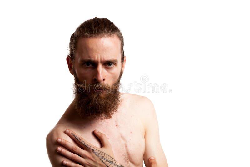 Hipster met lange baard over witte achtergrond royalty-vrije stock fotografie