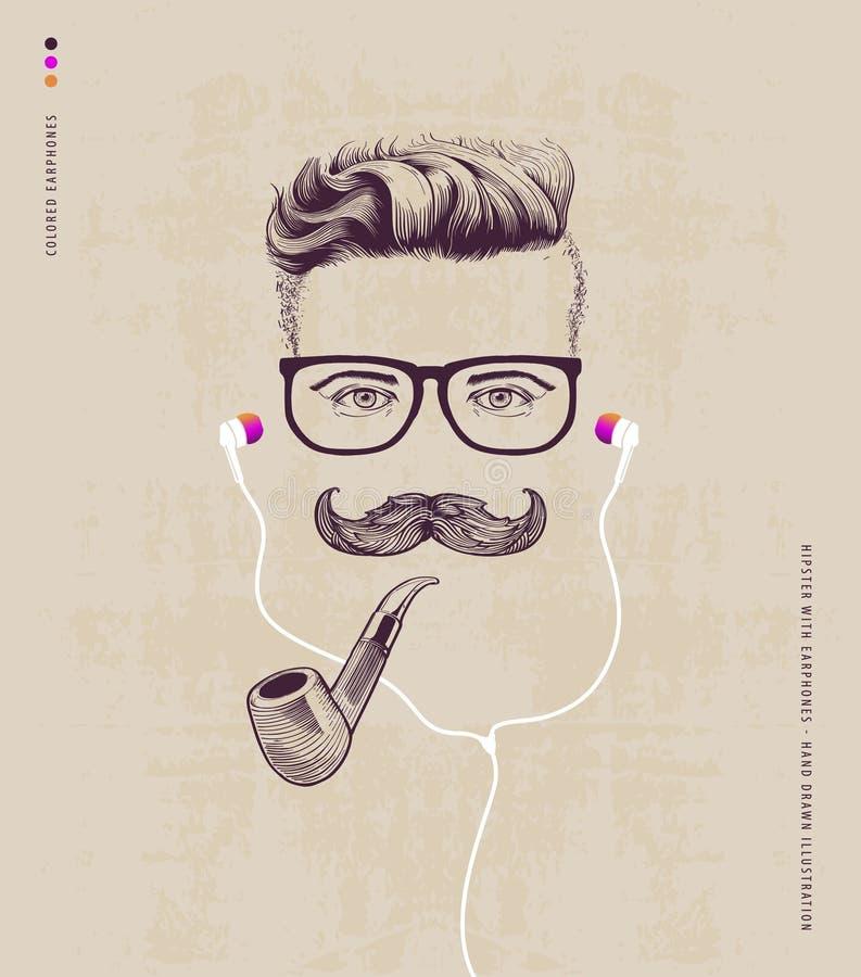 Hipster met pijp vector illustratie