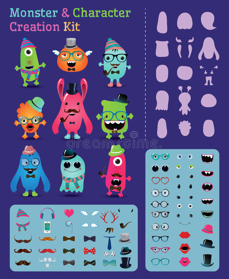 Free Hipster Monster And Character Creation Kit Royalty Free Stock Photography - 36640267
