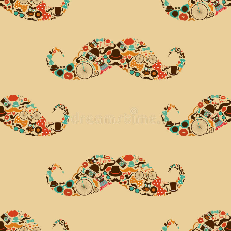 Hipster Mustache Colorful Seamless Pattern stock illustration