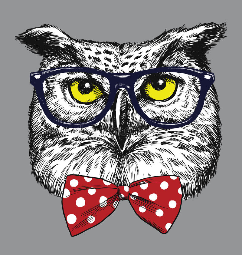 Hipster Owl with glasses and bow tie. Glasses and tie are separated. stock illustration