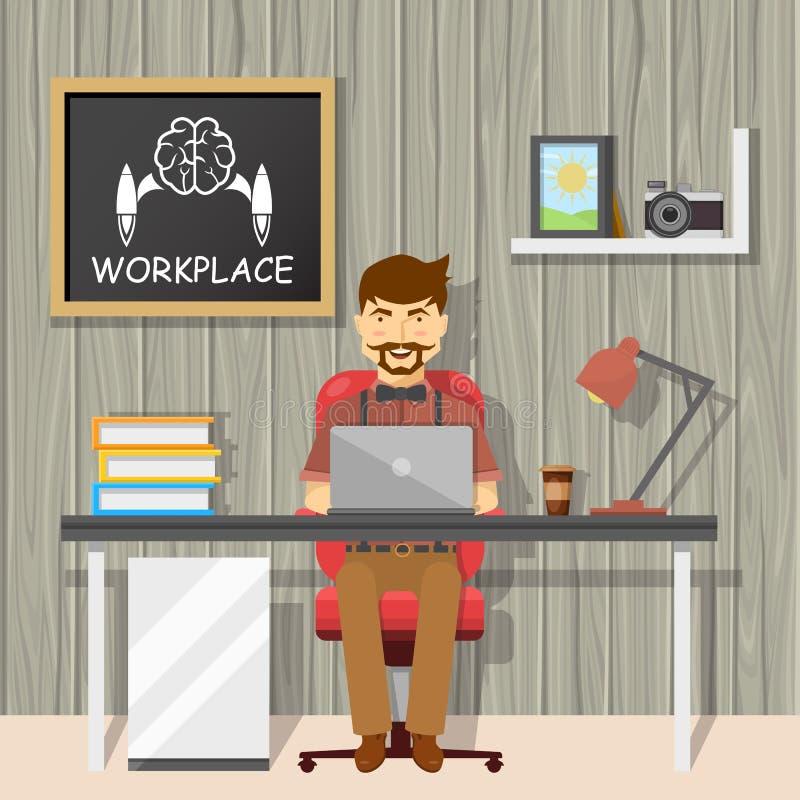 Hipster på arbetsplatsdesignen royaltyfri illustrationer