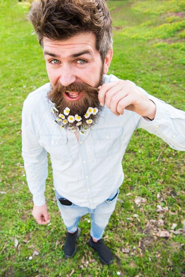 Hipster på lycklig framsidaställning på gräs som är defocused naturligt skönhetbegrepp Mannen med skägget och mustaschen tycker o arkivfoton