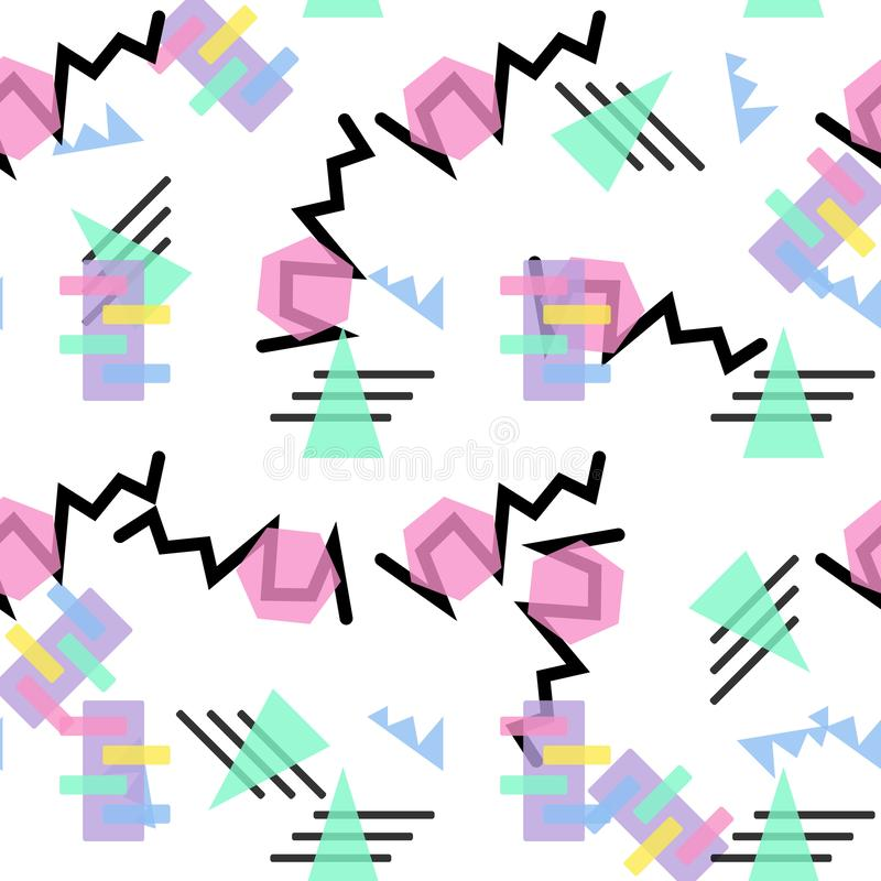 Hipster Pattern Abstract Retro 80 s Jumble Geometric Line Shapes. fashion style seamless background. Vector illustration stock illustration
