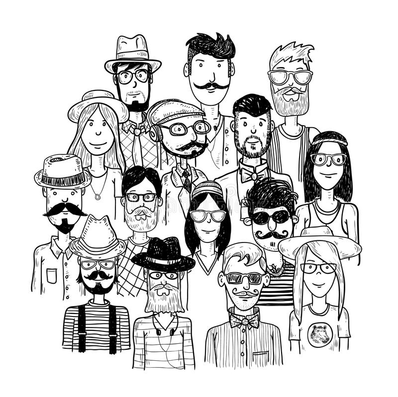 Hipster people icon set. vector illustrations royalty free illustration