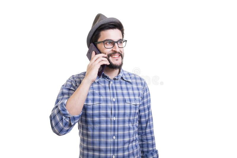 Hipster with phablet royalty free stock images