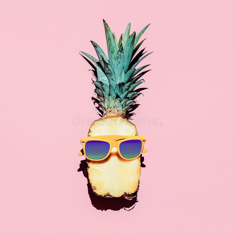 Pineapple Accessories hipster pineapple fashion accessories and fruits. stock photo