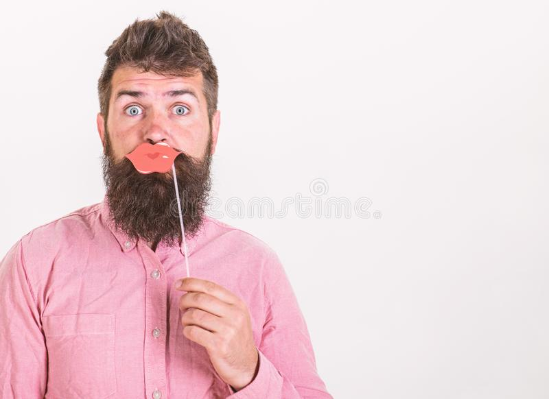Hipster in pink shirt with stylish beard isolated on white background. Birthday party of handsome bearded man stock photos