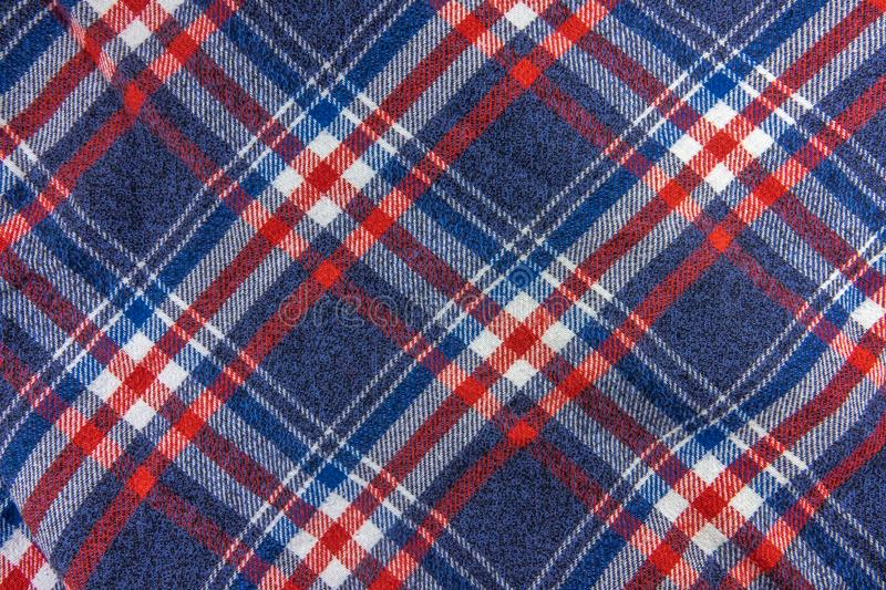 Hipster Plaid Shirt Pattern. Abstract Background Texture Of A Blue, White And Red Plaid Hipster Shirt Pattern stock photo