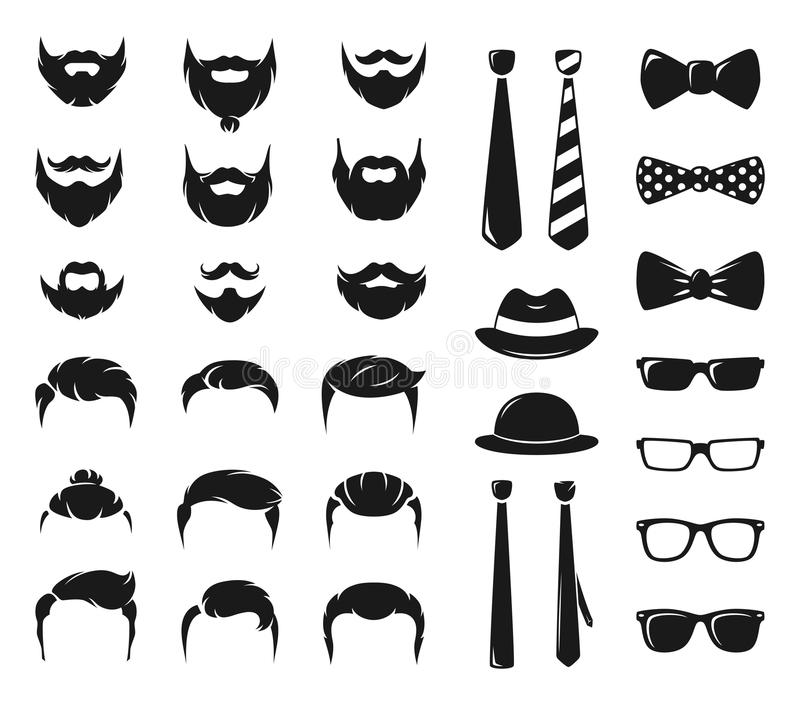Hipster portraits creation kit. Monochrome constructor with male moustache, beard and haircut. Mustache and haircut hipster, illustration of moustache and royalty free illustration