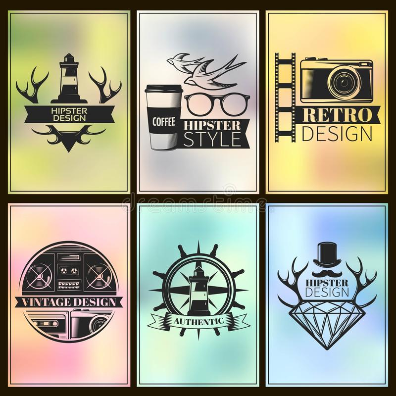 Hipster Post Card Set. With descriptions of hipster design hipster style vintage design authentic vector illustration royalty free illustration