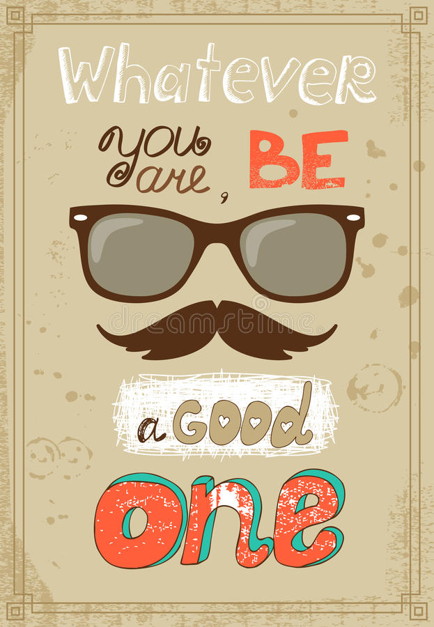 Hipster poster with vintage glasses mustache and vector illustration