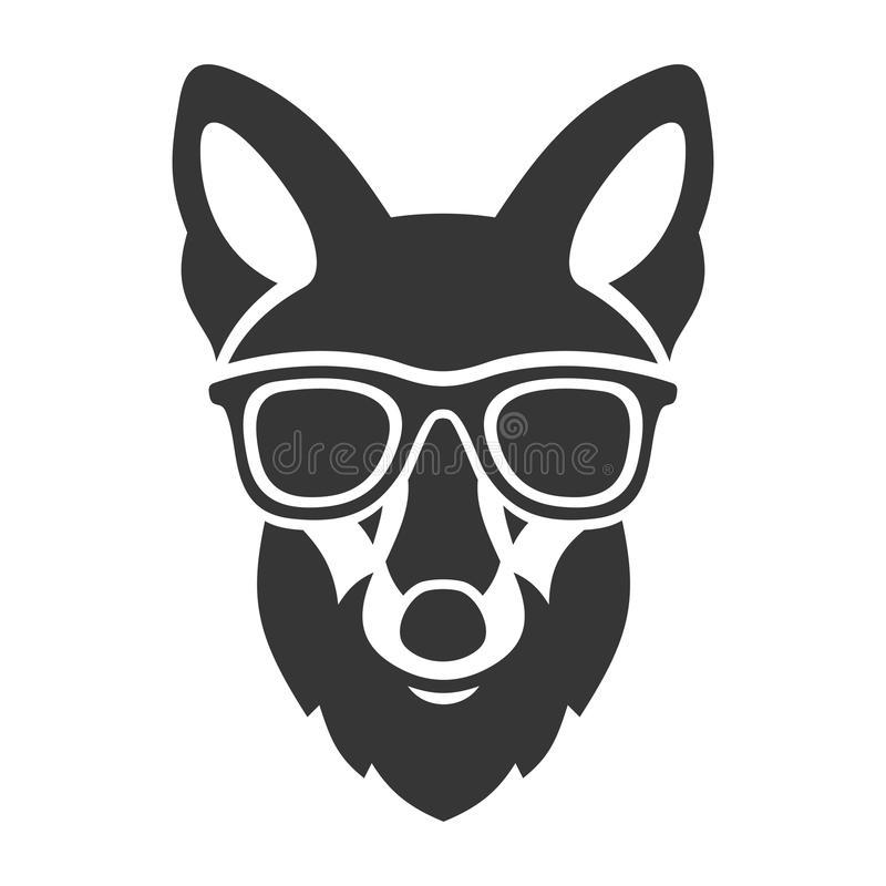 Hipster Red Fox Face in Glasses. Vector royalty free illustration