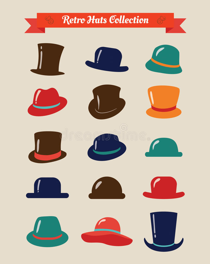Hipster Retro Hats Vintage Icon Set vector illustration