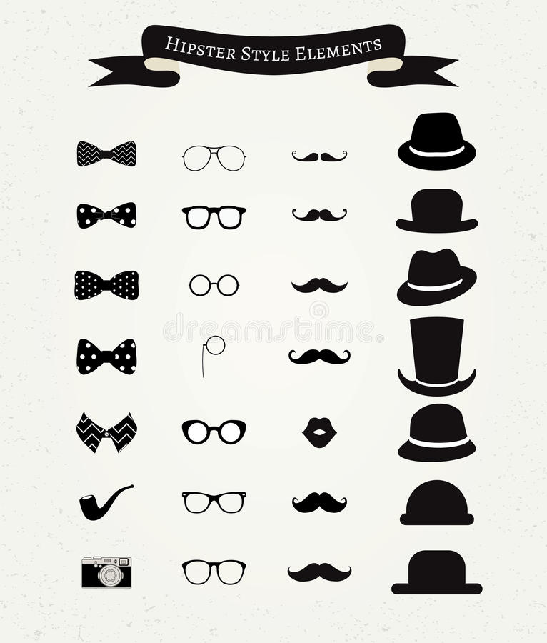 Hipster Retro Vintage Icon Set royalty free illustration