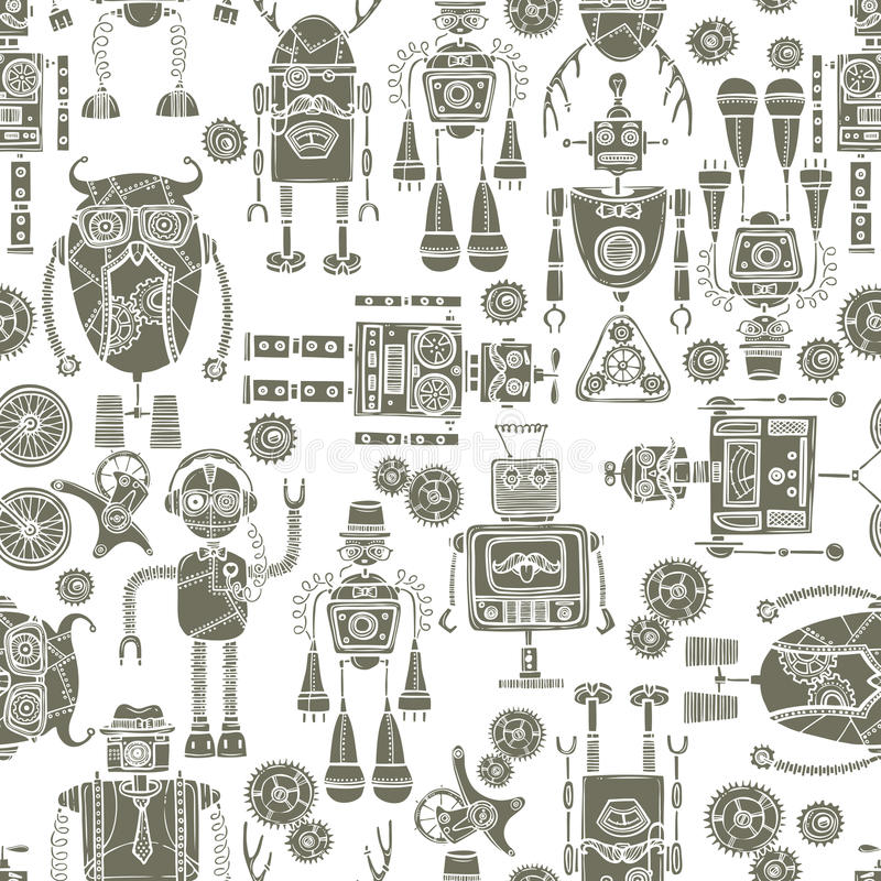 Hipster robot seamless pattern black and white vector illustration
