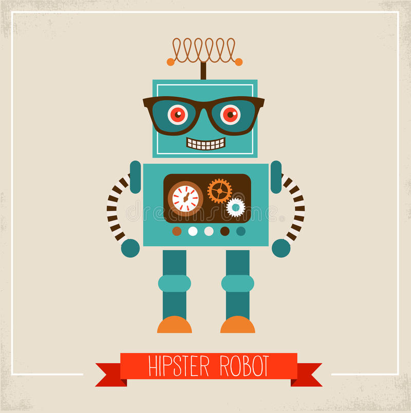 Download Hipster robot toy icon stock vector. Illustration of glasses - 33528969