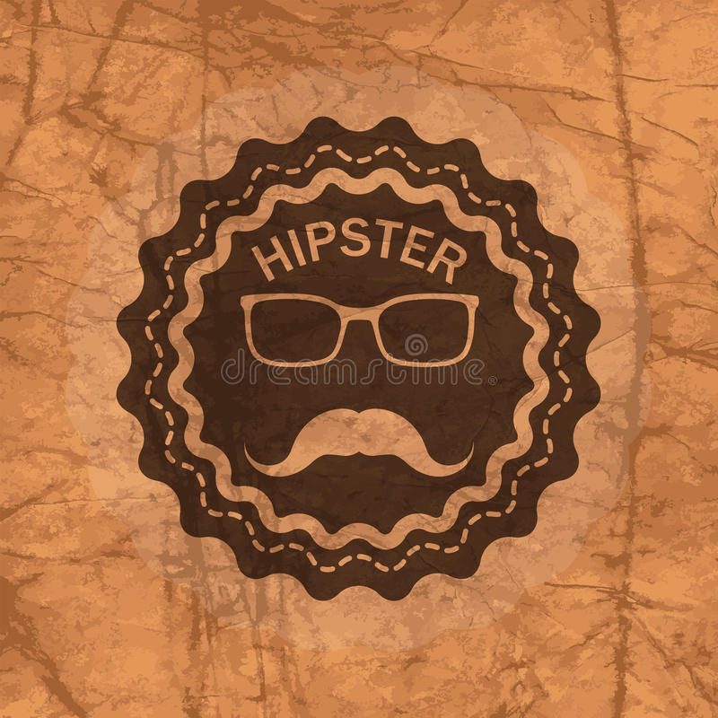 Hipster's badge on brown crumbled textured paper background stock illustration