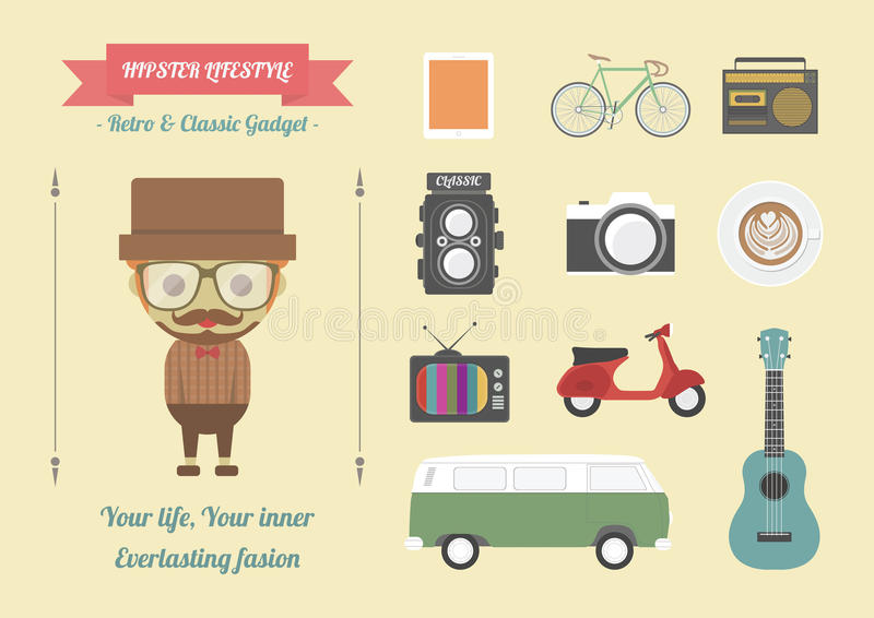 Hipster. 's item, retro and classic gadget, pastel flat style stock illustration