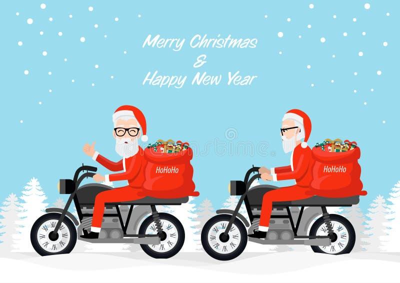 Hipster santa claus biker in motocicletta disegnato per cartoni animati, Buon Natale e Buon anno nuovo illustrazione vettoriale