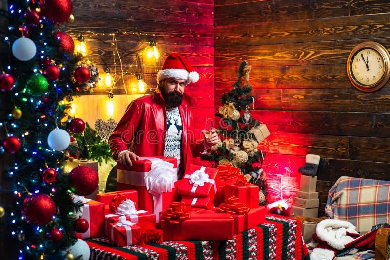 Hipster Santa Claus De stemming van het nieuwjaar De vakantie van de Kerstmisviering Nieuwe jaarpartij royalty-vrije stock fotografie