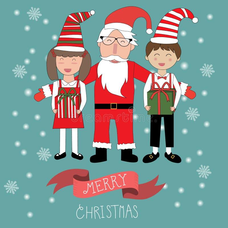 Hipster Santa Claus för glad jul och ungebarnvektor royaltyfri illustrationer