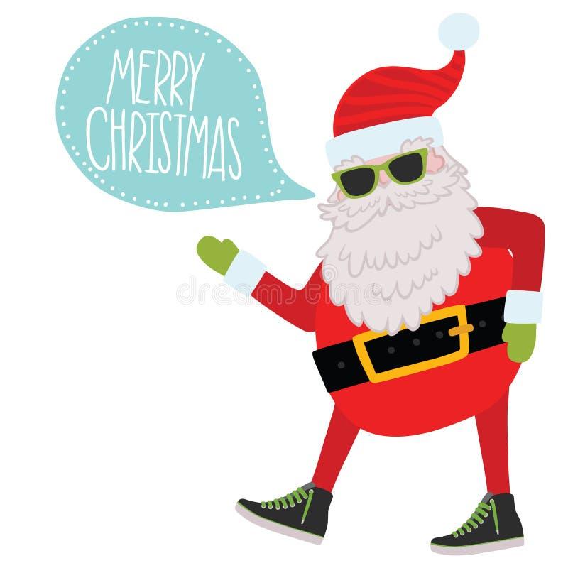 Hipster Santa Claus. Kerstmisachtergrond vector illustratie