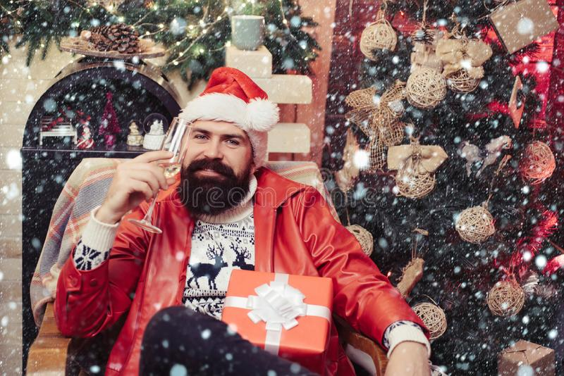 Hipster santa claus. New year party. New year party. Santa drunk. After party new year: festive champagne. royalty free stock photography