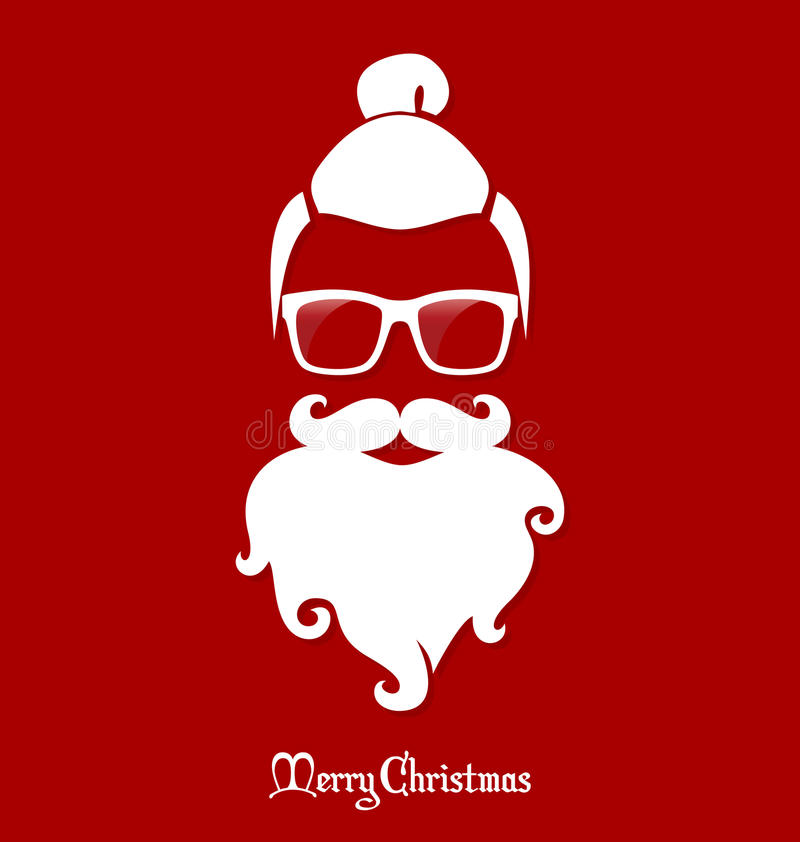 Hipster Santa Claus, Partij, Groetkaart, Banner, Sticker, Hipster-Stijl Haarknotjekapsel stock illustratie
