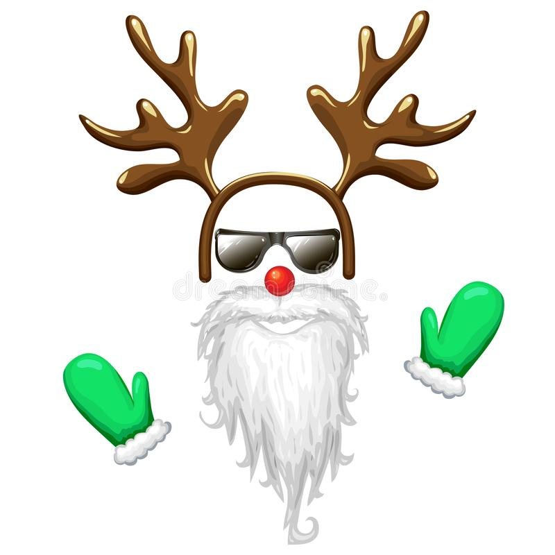 Hipster santa face mask in sunglasses with antlers headband red nose long beard and mittens. Christmas costume clipart vector illustration