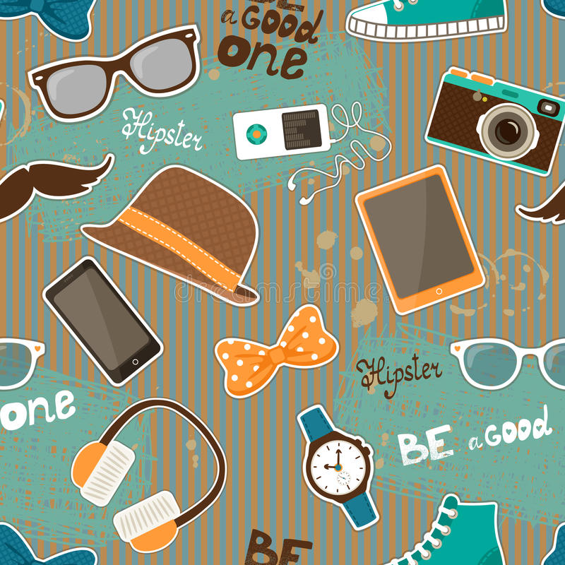Hipster seamless elements vector illustration