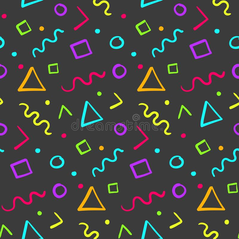 Hipster seamless pattern with color shapes vector illustration
