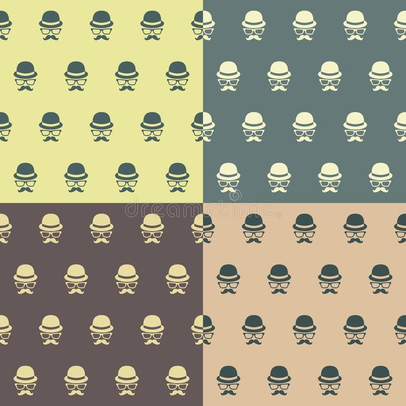 Hipster character seamless pattern stock illustration