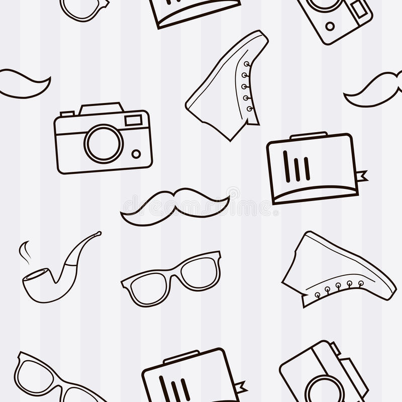 Hipster seamless vector background. Modern stylish hipster pattern. stock illustration