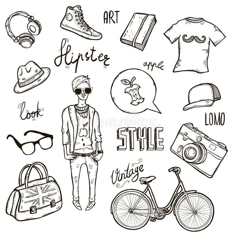 Hipster set vector illustration