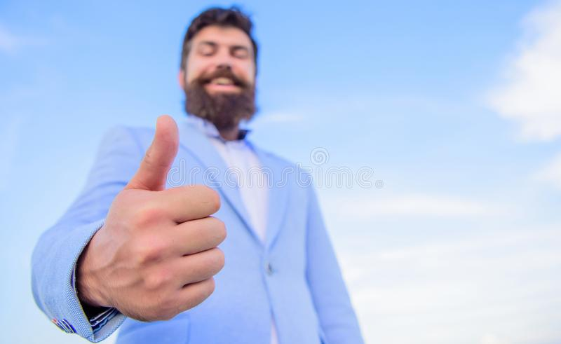 Hipster show thumbs up. Success and approval concept. Gesture expresses approval. Business approval and agreement stock images