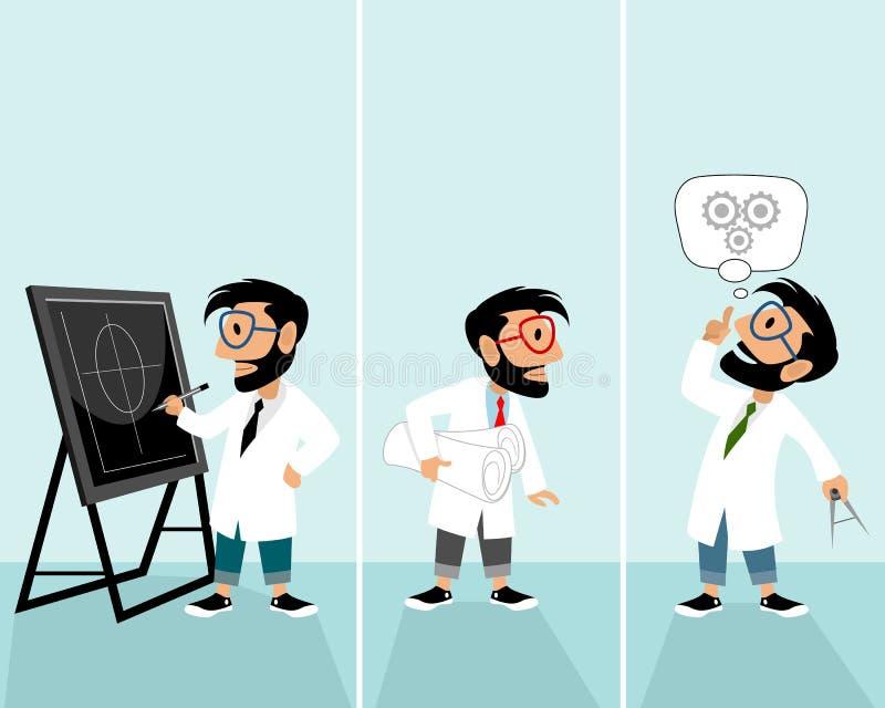 Hipster in situatie van uitvinding stock illustratie