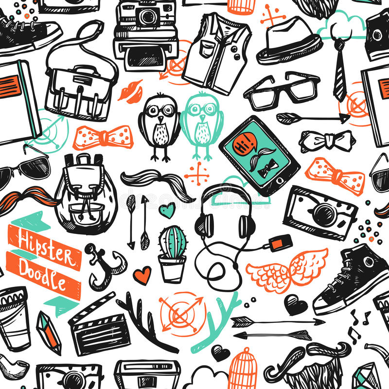 Hipster Sketch Seamless Pattern royalty free illustration