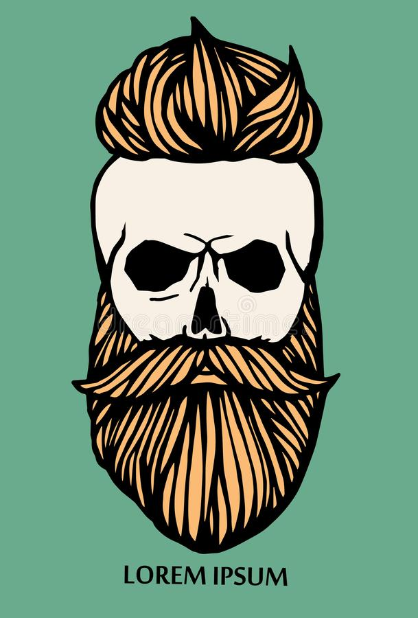 Hipster skull head with beard. Hand-Drawn Doodle. Vector Illustration - stock vector. Hand drawn cartoon character. Bearded man vector illustration