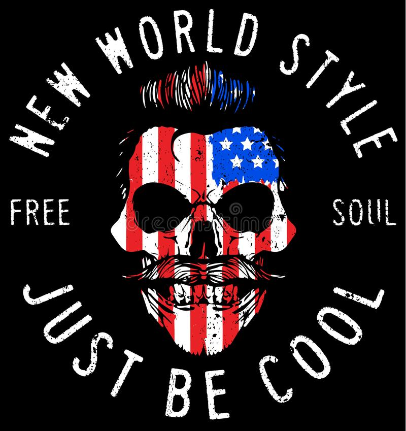 Hipster skull illustration with usa flag. Fashion style stock illustration