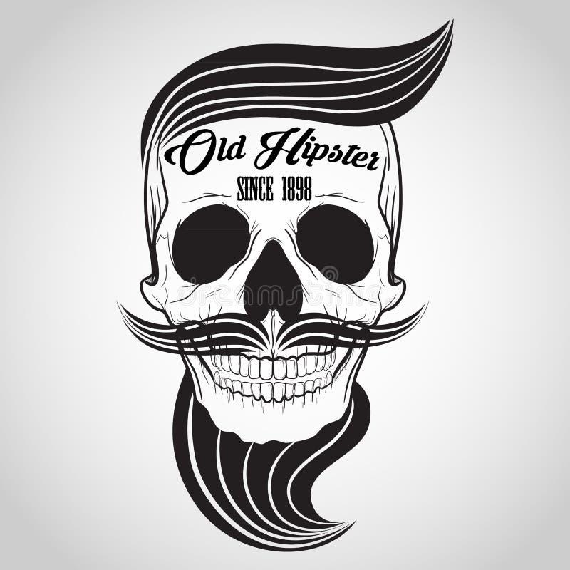 Hipster Skull logo vector illustration